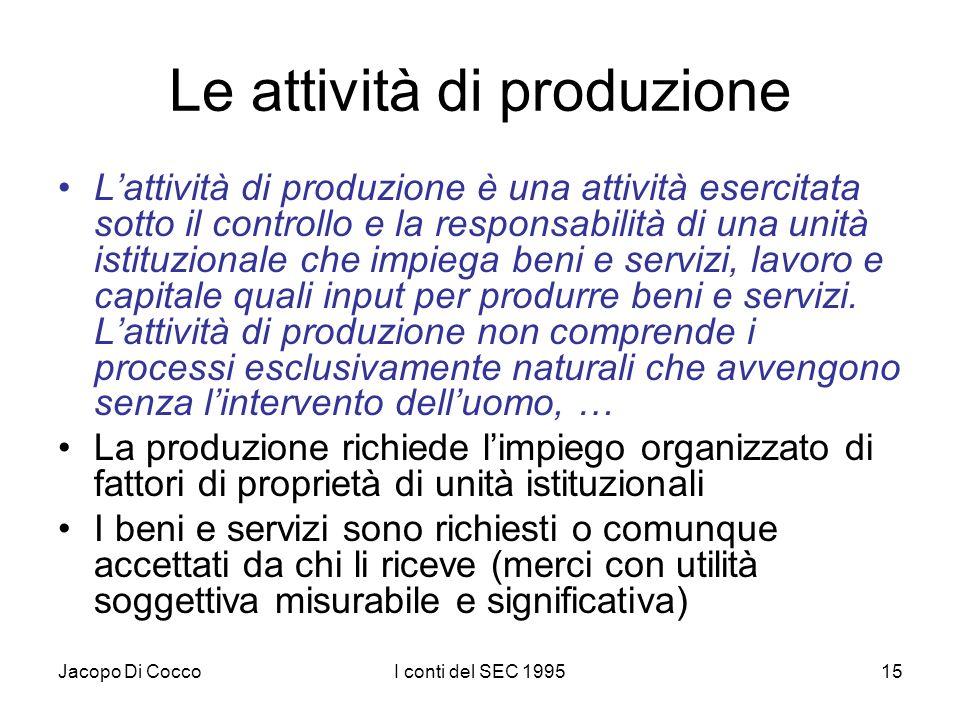 Jacopo Di CoccoI conti del SEC 199515 Le attività di produzione Lattività di produzione è una attività esercitata sotto il controllo e la responsabili