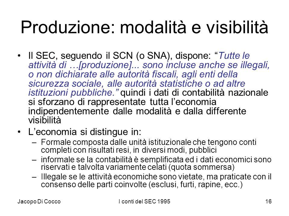 Jacopo Di CoccoI conti del SEC 199516 Produzione: modalità e visibilità Il SEC, seguendo il SCN (o SNA), dispone: Tutte le attività di …[produzione]..