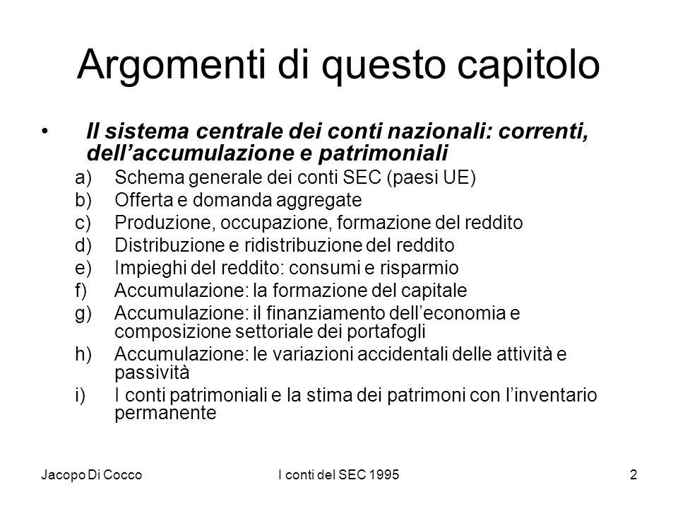 Jacopo Di CoccoI conti del SEC 199513 SEQUENZA DEI CONTI La sequenza dei conti tra loro collegati dai saldi comprende tre principali categorie di conti: a)conti delle operazioni correnti (1)conto della produzione (I) (2)conti della distribuzione e di utilizzazione del reddito (II) b)conti della accumulazione (III) c)conti patrimoniali (IV)