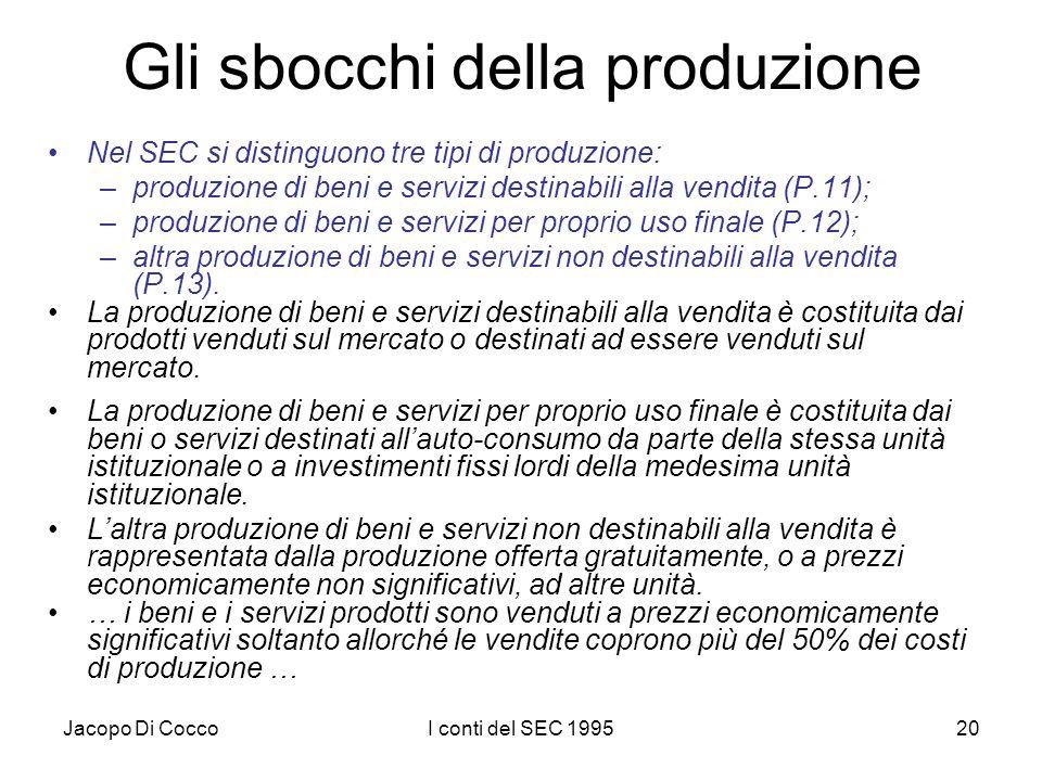 Jacopo Di CoccoI conti del SEC 199520 Gli sbocchi della produzione Nel SEC si distinguono tre tipi di produzione: –produzione di beni e servizi destinabili alla vendita (P.11); –produzione di beni e servizi per proprio uso finale (P.12); –altra produzione di beni e servizi non destinabili alla vendita (P.13).