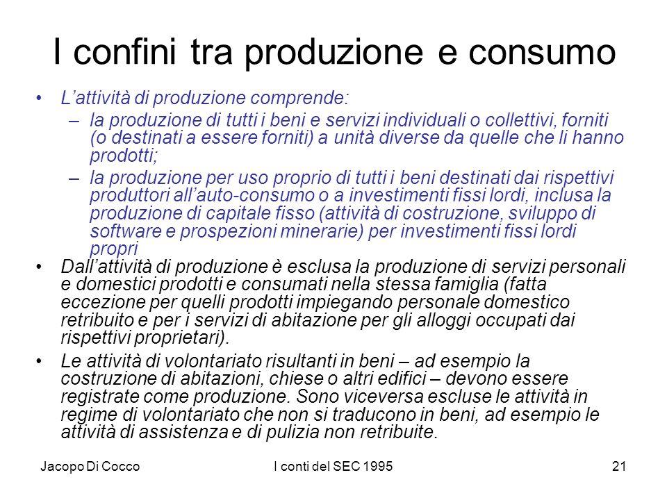 Jacopo Di CoccoI conti del SEC 199521 I confini tra produzione e consumo Lattività di produzione comprende: –la produzione di tutti i beni e servizi individuali o collettivi, forniti (o destinati a essere forniti) a unità diverse da quelle che li hanno prodotti; –la produzione per uso proprio di tutti i beni destinati dai rispettivi produttori allauto-consumo o a investimenti fissi lordi, inclusa la produzione di capitale fisso (attività di costruzione, sviluppo di software e prospezioni minerarie) per investimenti fissi lordi propri Dallattività di produzione è esclusa la produzione di servizi personali e domestici prodotti e consumati nella stessa famiglia (fatta eccezione per quelli prodotti impiegando personale domestico retribuito e per i servizi di abitazione per gli alloggi occupati dai rispettivi proprietari).