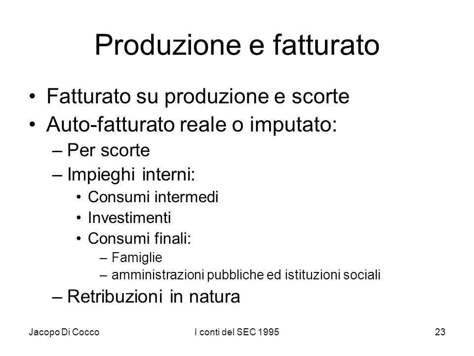 Jacopo Di CoccoI conti del SEC 199523 Produzione e fatturato Fatturato su produzione e scorte Auto-fatturato reale o imputato: –Per scorte –Impieghi i