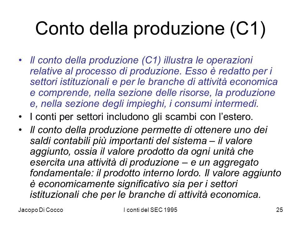 Jacopo Di CoccoI conti del SEC 199525 Conto della produzione (C1) Il conto della produzione (C1) illustra le operazioni relative al processo di produz