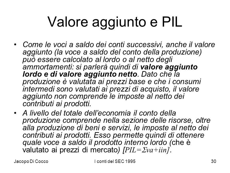 Jacopo Di CoccoI conti del SEC 199530 Valore aggiunto e PIL Come le voci a saldo dei conti successivi, anche il valore aggiunto (la voce a saldo del c