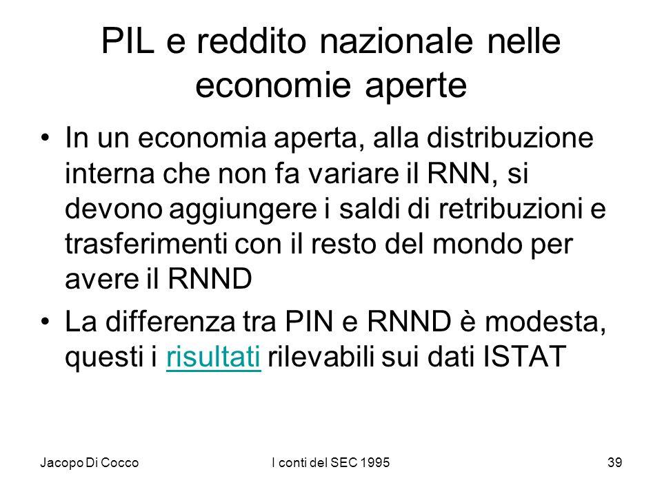 Jacopo Di CoccoI conti del SEC 199539 PIL e reddito nazionale nelle economie aperte In un economia aperta, alla distribuzione interna che non fa varia