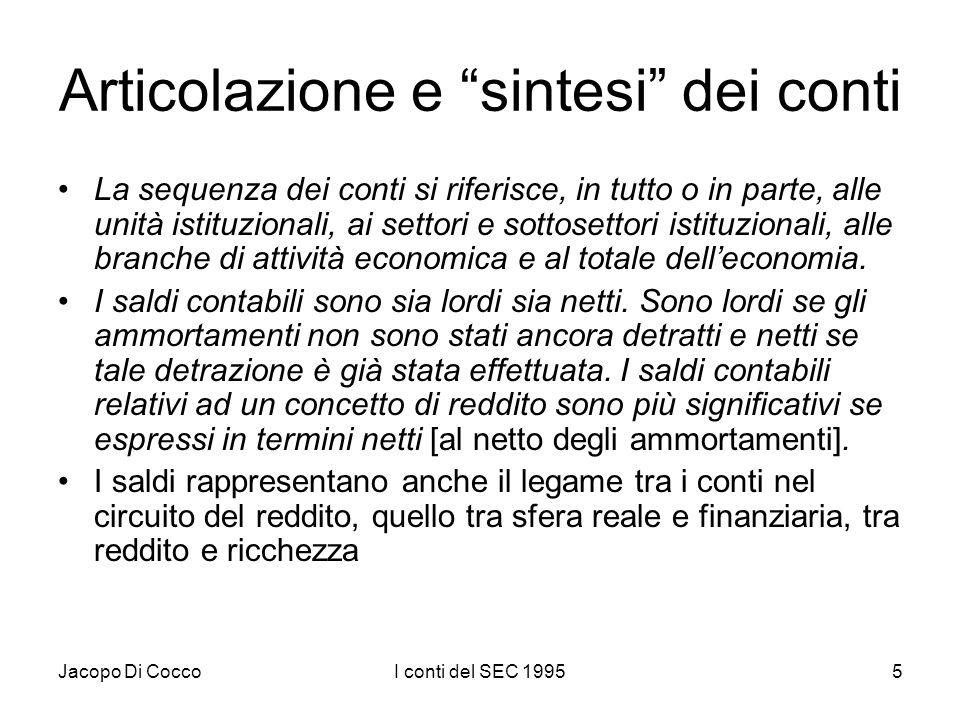 Jacopo Di CoccoI conti del SEC 19955 Articolazione e sintesi dei conti La sequenza dei conti si riferisce, in tutto o in parte, alle unità istituzionali, ai settori e sottosettori istituzionali, alle branche di attività economica e al totale delleconomia.