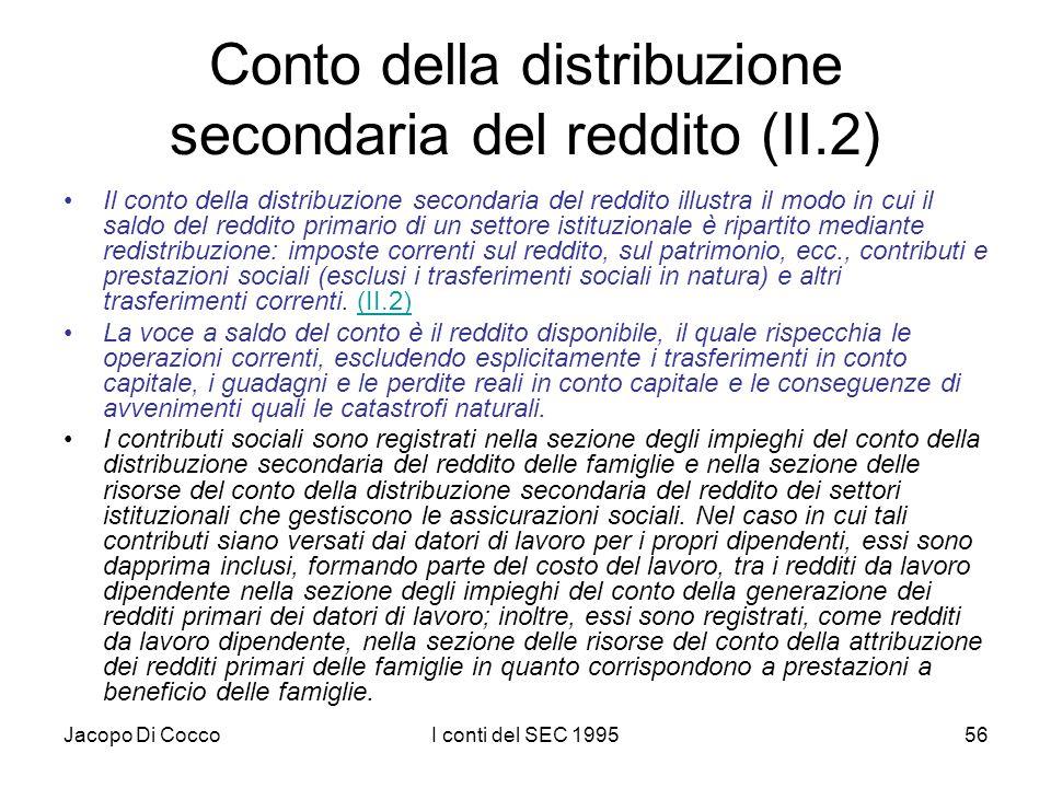 Jacopo Di CoccoI conti del SEC 199556 Conto della distribuzione secondaria del reddito (II.2) Il conto della distribuzione secondaria del reddito illu