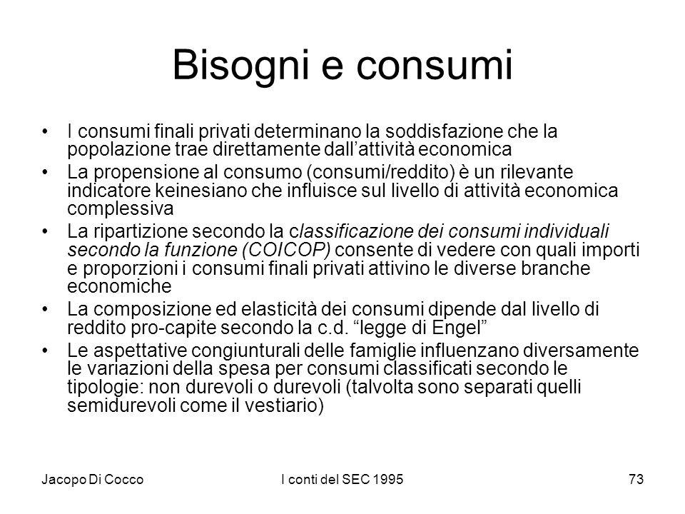 Jacopo Di CoccoI conti del SEC 199573 Bisogni e consumi I consumi finali privati determinano la soddisfazione che la popolazione trae direttamente dallattività economica La propensione al consumo (consumi/reddito) è un rilevante indicatore keinesiano che influisce sul livello di attività economica complessiva La ripartizione secondo la classificazione dei consumi individuali secondo la funzione (COICOP) consente di vedere con quali importi e proporzioni i consumi finali privati attivino le diverse branche economiche La composizione ed elasticità dei consumi dipende dal livello di reddito pro-capite secondo la c.d.