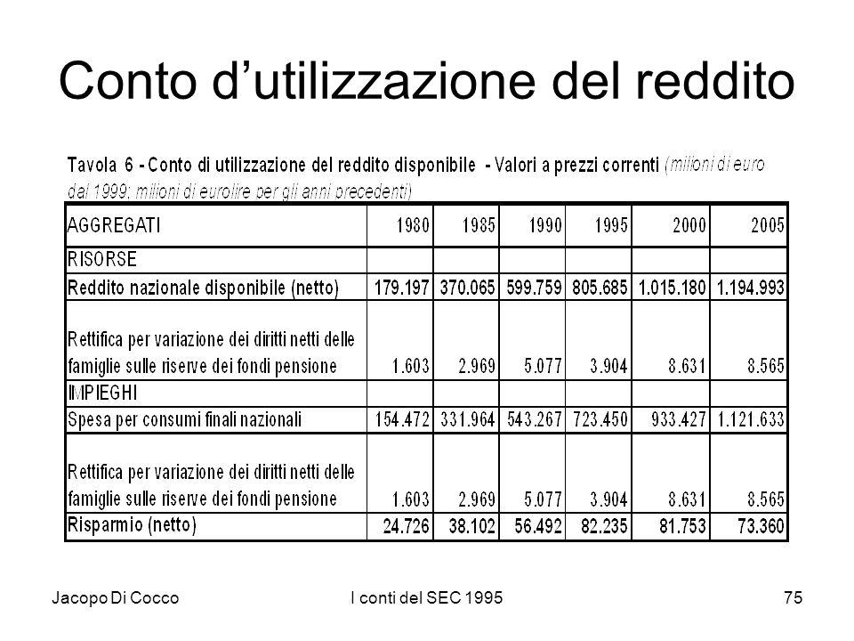 Jacopo Di CoccoI conti del SEC 199575 Conto dutilizzazione del reddito
