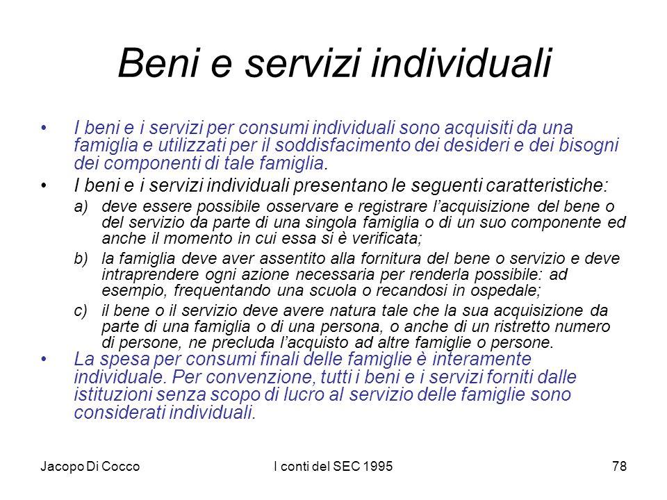Jacopo Di CoccoI conti del SEC 199578 Beni e servizi individuali I beni e i servizi per consumi individuali sono acquisiti da una famiglia e utilizzati per il soddisfacimento dei desideri e dei bisogni dei componenti di tale famiglia.