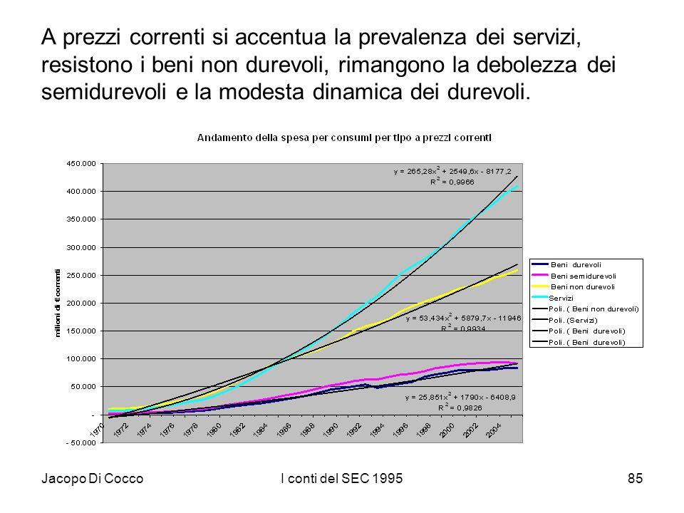 Jacopo Di CoccoI conti del SEC 199585 A prezzi correnti si accentua la prevalenza dei servizi, resistono i beni non durevoli, rimangono la debolezza d