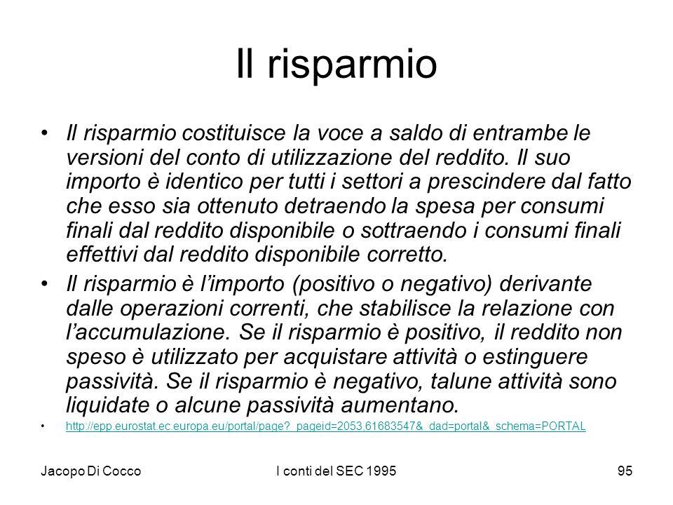 Jacopo Di CoccoI conti del SEC 199595 Il risparmio Il risparmio costituisce la voce a saldo di entrambe le versioni del conto di utilizzazione del red