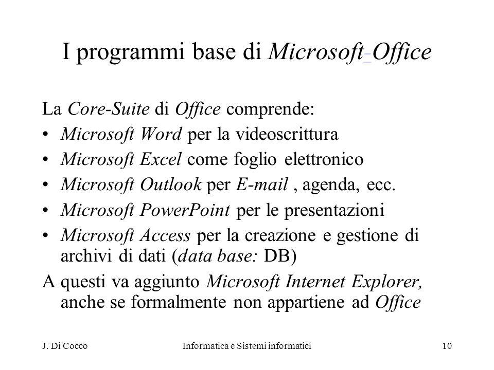 J. Di CoccoInformatica e Sistemi informatici10 I programmi base di Microsoft-Office- La Core-Suite di Office comprende: Microsoft Word per la videoscr