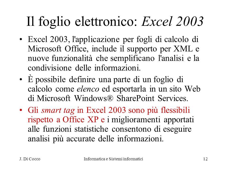 J. Di CoccoInformatica e Sistemi informatici12 Il foglio elettronico: Excel 2003 Excel 2003, l'applicazione per fogli di calcolo di Microsoft Office,