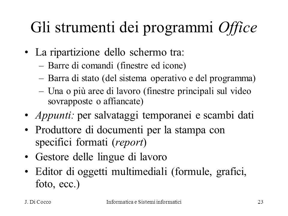 J. Di CoccoInformatica e Sistemi informatici23 Gli strumenti dei programmi Office La ripartizione dello schermo tra: –Barre di comandi (finestre ed ic