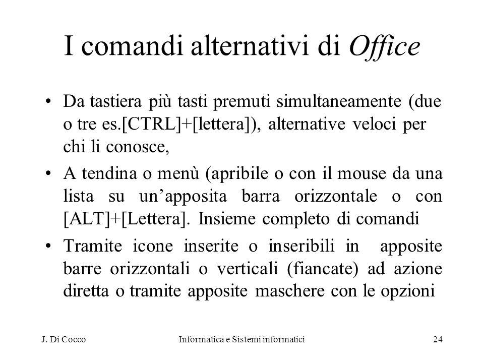 J. Di CoccoInformatica e Sistemi informatici24 I comandi alternativi di Office Da tastiera più tasti premuti simultaneamente (due o tre es.[CTRL]+[let