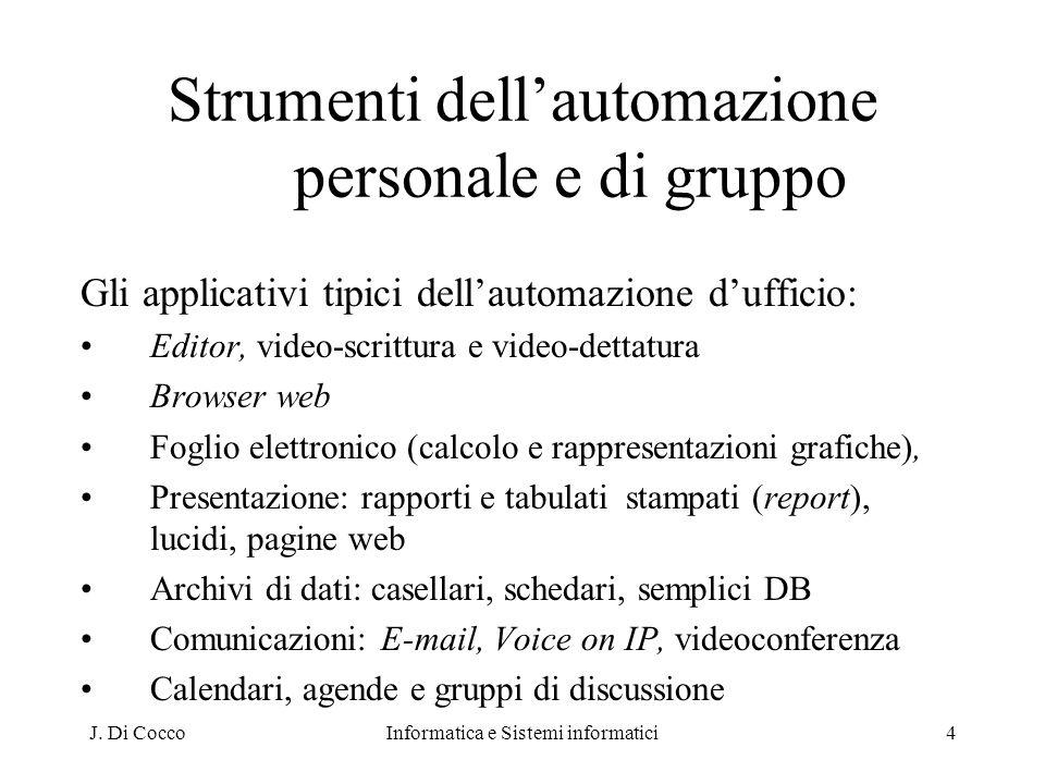 J. Di CoccoInformatica e Sistemi informatici4 Strumenti dellautomazione personale e di gruppo Gli applicativi tipici dellautomazione dufficio: Editor,