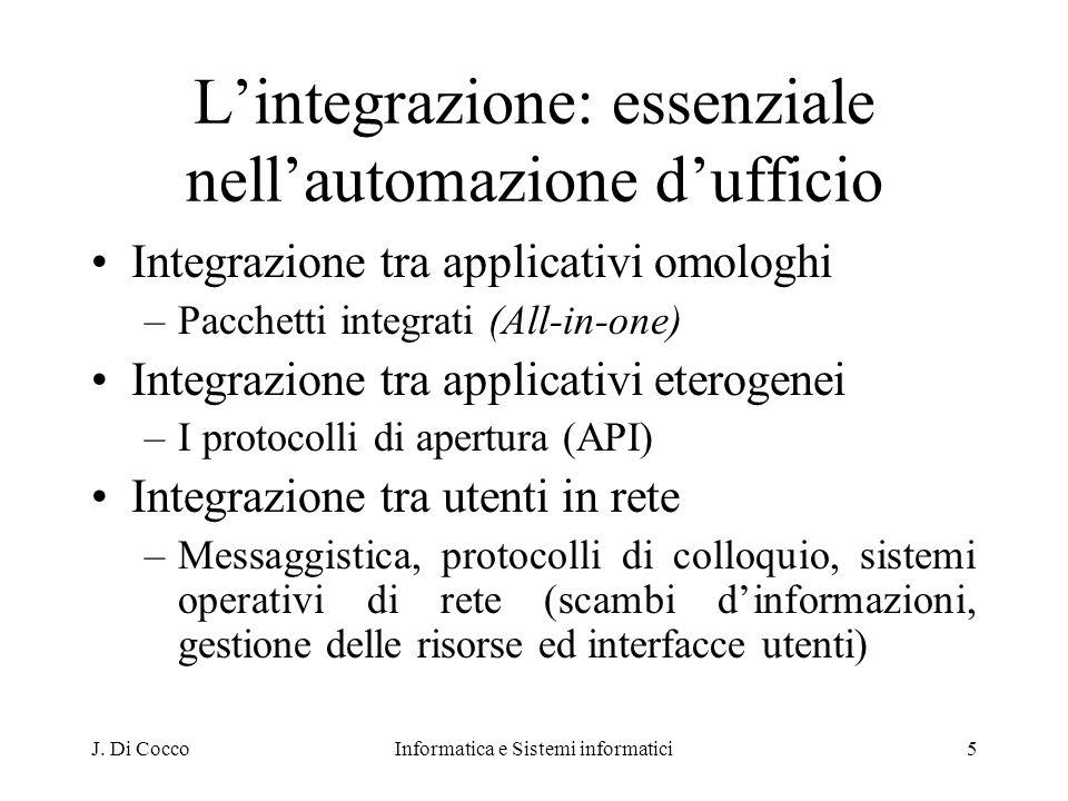 J. Di CoccoInformatica e Sistemi informatici5 Lintegrazione: essenziale nellautomazione dufficio Integrazione tra applicativi omologhi –Pacchetti inte
