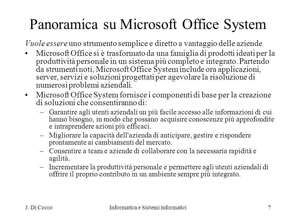 J. Di CoccoInformatica e Sistemi informatici7 Panoramica su Microsoft Office System Vuole essere uno strumento semplice e diretto a vantaggio delle az