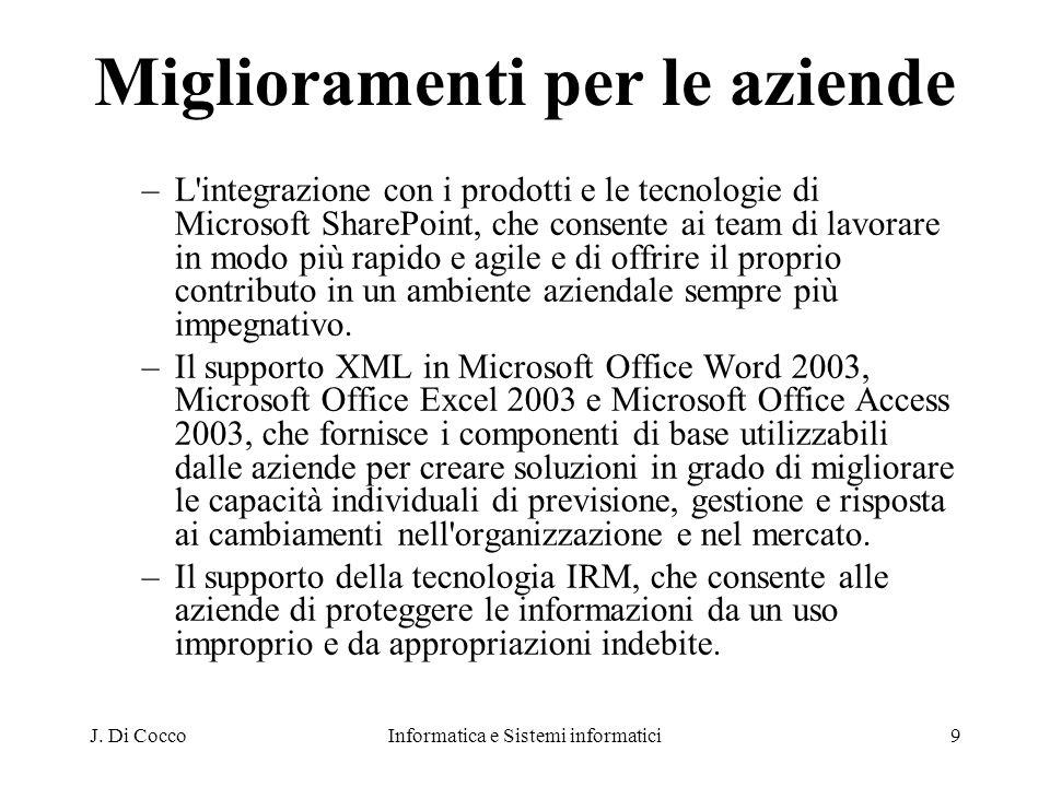 J. Di CoccoInformatica e Sistemi informatici9 Miglioramenti per le aziende –L'integrazione con i prodotti e le tecnologie di Microsoft SharePoint, che