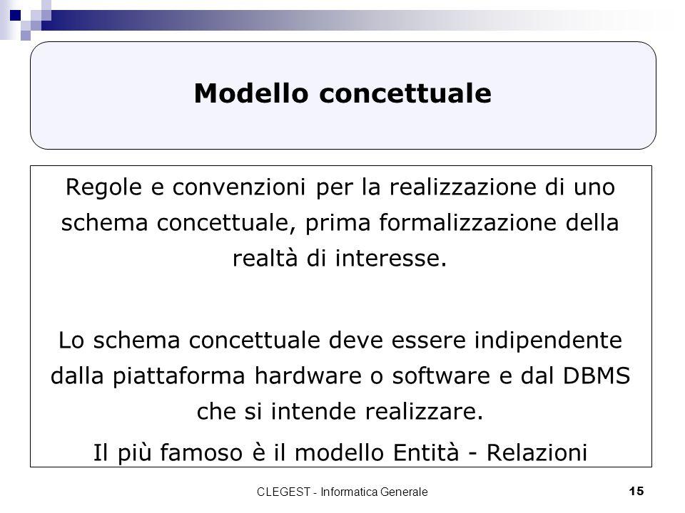 CLEGEST - Informatica Generale15 Modello concettuale Regole e convenzioni per la realizzazione di uno schema concettuale, prima formalizzazione della realtà di interesse.