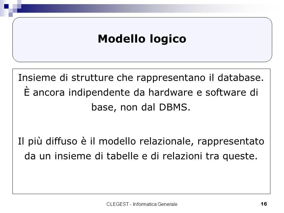CLEGEST - Informatica Generale16 Modello logico Insieme di strutture che rappresentano il database. È ancora indipendente da hardware e software di ba