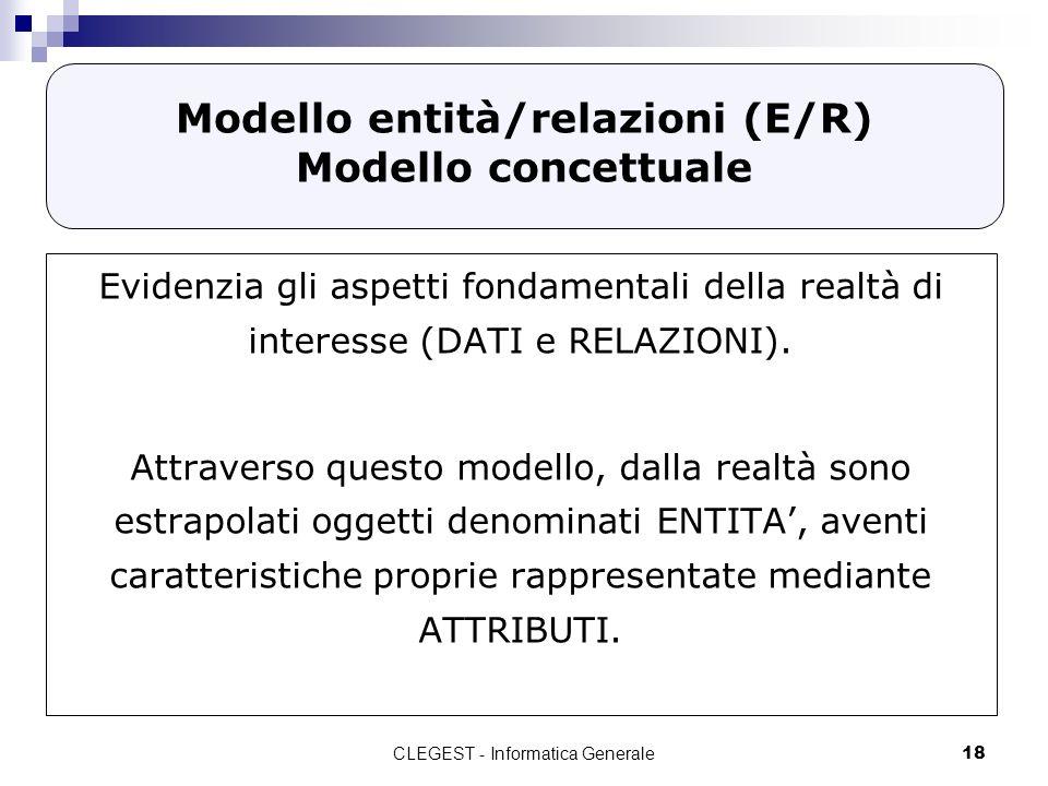 CLEGEST - Informatica Generale18 Modello entità/relazioni (E/R) Modello concettuale Evidenzia gli aspetti fondamentali della realtà di interesse (DATI