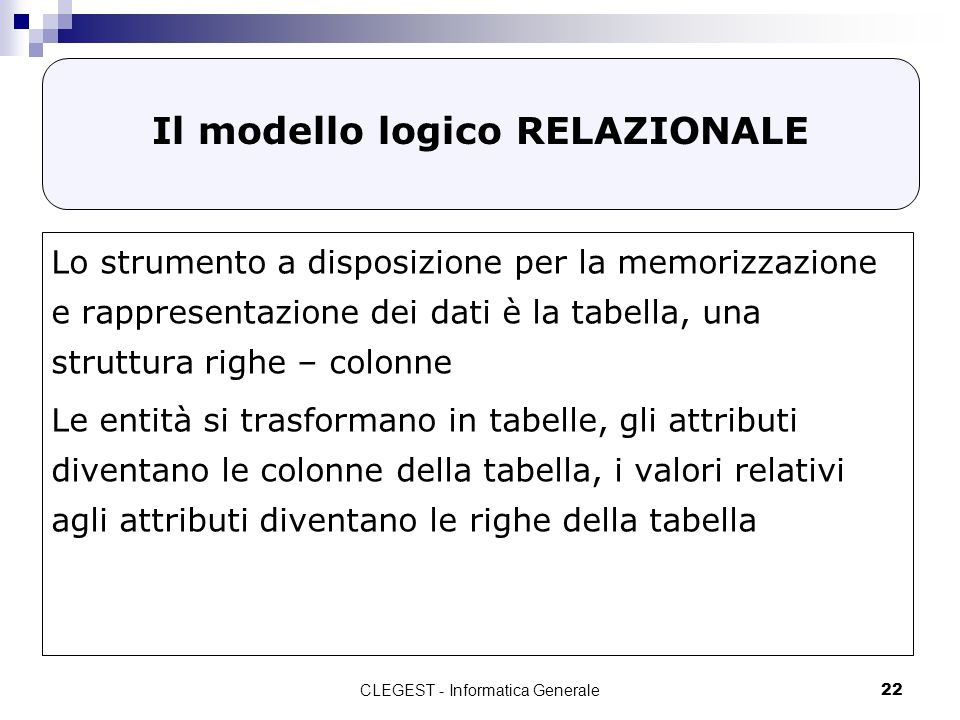 CLEGEST - Informatica Generale22 Il modello logico RELAZIONALE Lo strumento a disposizione per la memorizzazione e rappresentazione dei dati è la tabella, una struttura righe – colonne Le entità si trasformano in tabelle, gli attributi diventano le colonne della tabella, i valori relativi agli attributi diventano le righe della tabella