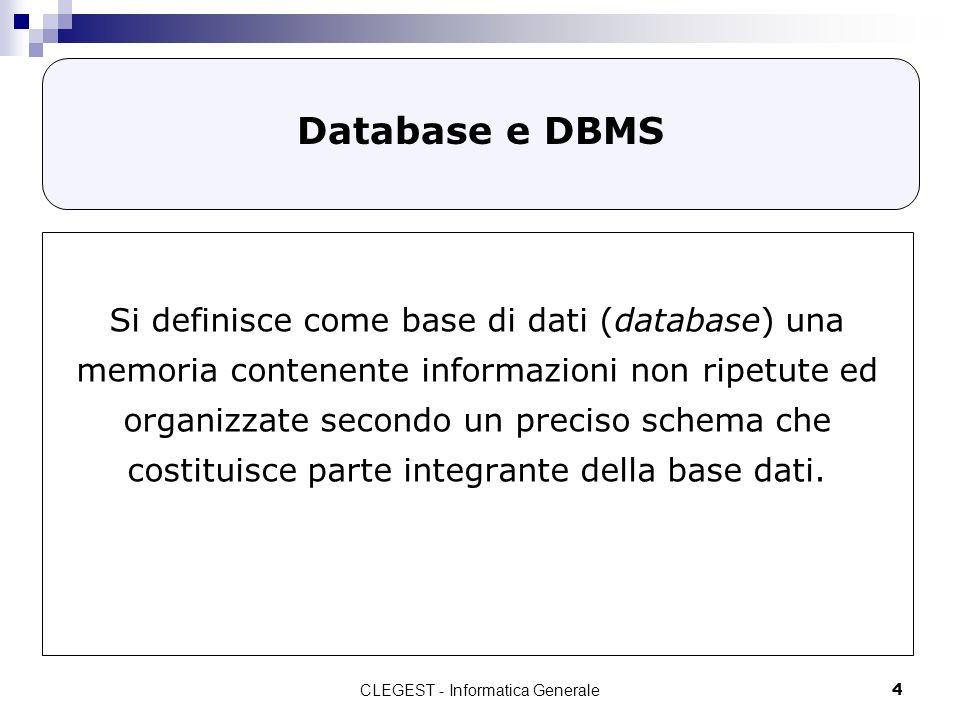 CLEGEST - Informatica Generale25 Normalizzazione Processo volto alleliminazione della RIDONDANZA (presenza di uno stesso dato in più tabelle o nella stessa tabella) - Maggiore occupazione di spazio dei dati; - Lunghezza delle procedure di aggiornamento; - Congruenza dei dati non affidabile.