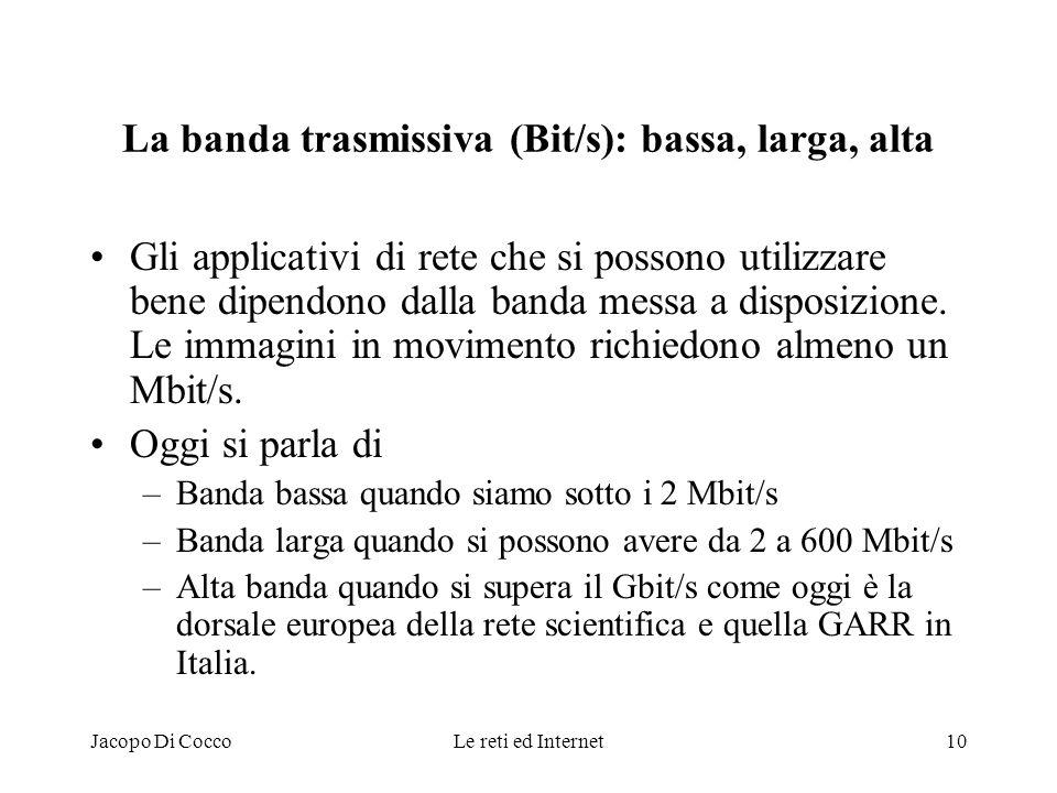 Jacopo Di CoccoLe reti ed Internet10 La banda trasmissiva (Bit/s): bassa, larga, alta Gli applicativi di rete che si possono utilizzare bene dipendono
