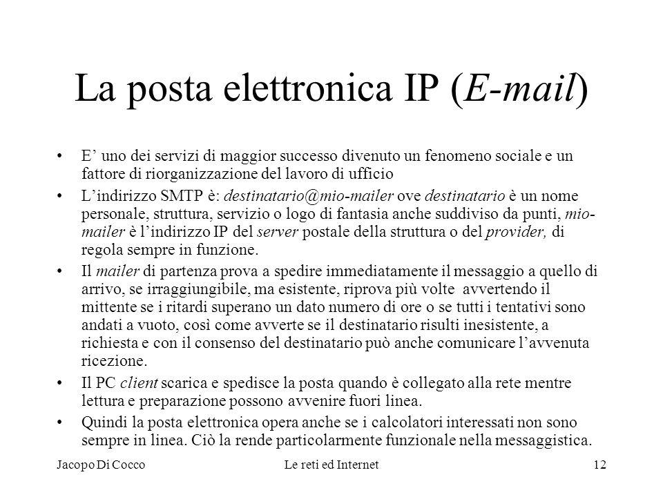Jacopo Di CoccoLe reti ed Internet12 La posta elettronica IP (E-mail) E uno dei servizi di maggior successo divenuto un fenomeno sociale e un fattore
