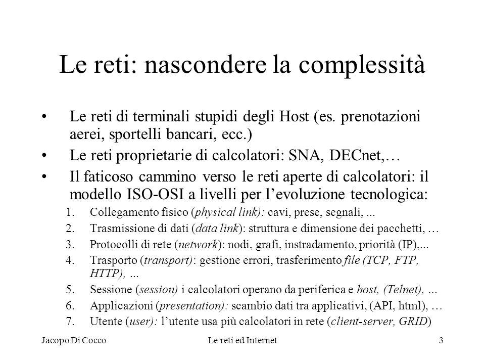 Jacopo Di CoccoLe reti ed Internet3 Le reti: nascondere la complessità Le reti di terminali stupidi degli Host (es. prenotazioni aerei, sportelli banc