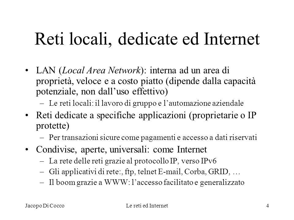 Jacopo Di CoccoLe reti ed Internet4 Reti locali, dedicate ed Internet LAN (Local Area Network): interna ad un area di proprietà, veloce e a costo piat
