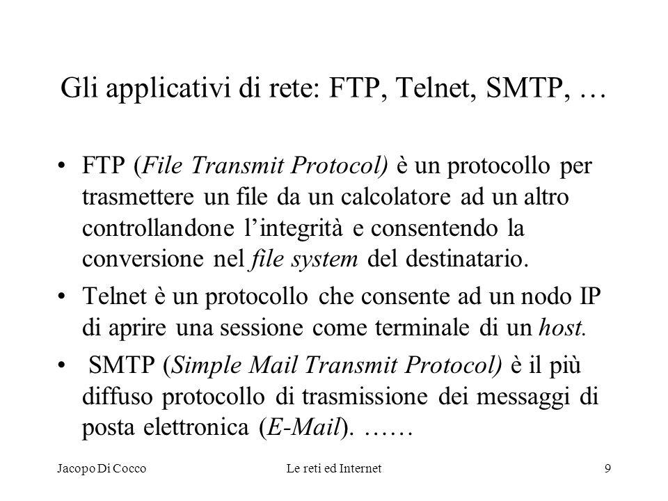 Jacopo Di CoccoLe reti ed Internet9 Gli applicativi di rete: FTP, Telnet, SMTP, … FTP (File Transmit Protocol) è un protocollo per trasmettere un file