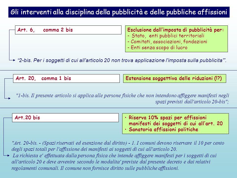 Gli interventi alla disciplina della pubblicità e delle pubbliche affissioni Esclusione dallimposta di pubblicità per: - Stato, enti pubblici territor
