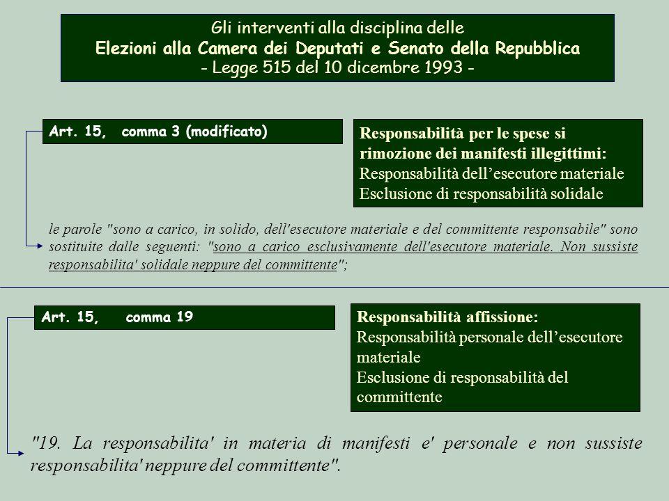 Gli interventi alla disciplina delle Elezioni alla Camera dei Deputati e Senato della Repubblica - Legge 515 del 10 dicembre 1993 - Responsabilità per