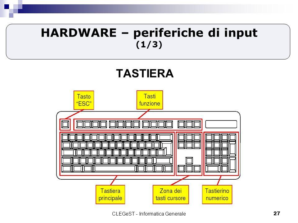 CLEGeST - Informatica Generale27 HARDWARE – periferiche di input (1/3) TASTIERA