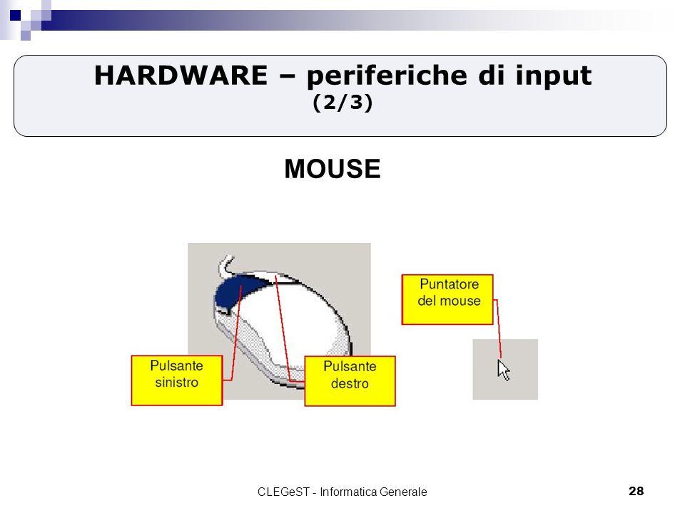 CLEGeST - Informatica Generale28 HARDWARE – periferiche di input (2/3) MOUSE