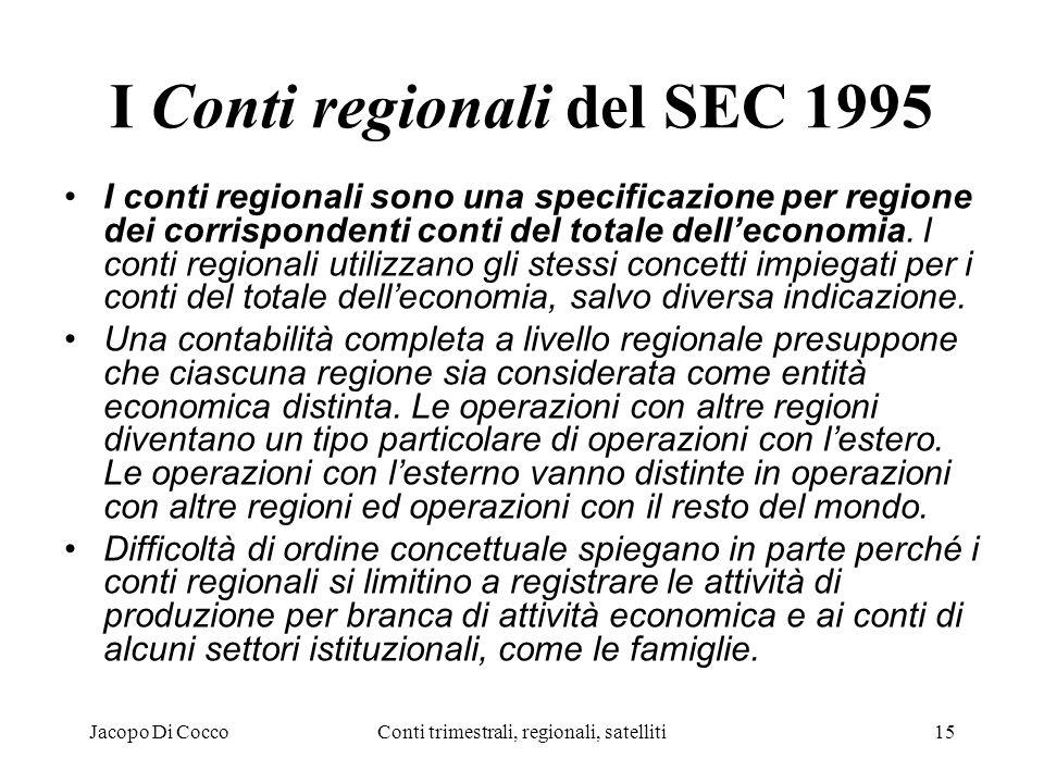 Jacopo Di CoccoConti trimestrali, regionali, satelliti15 I Conti regionali del SEC 1995 I conti regionali sono una specificazione per regione dei corrispondenti conti del totale delleconomia.