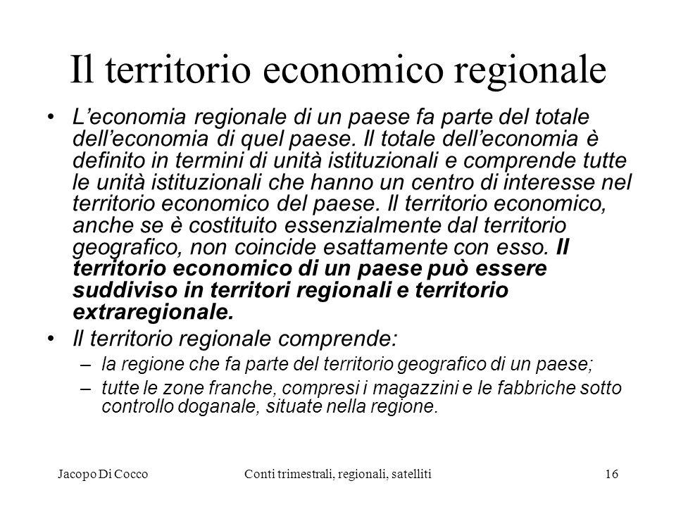 Jacopo Di CoccoConti trimestrali, regionali, satelliti16 Il territorio economico regionale Leconomia regionale di un paese fa parte del totale delleconomia di quel paese.