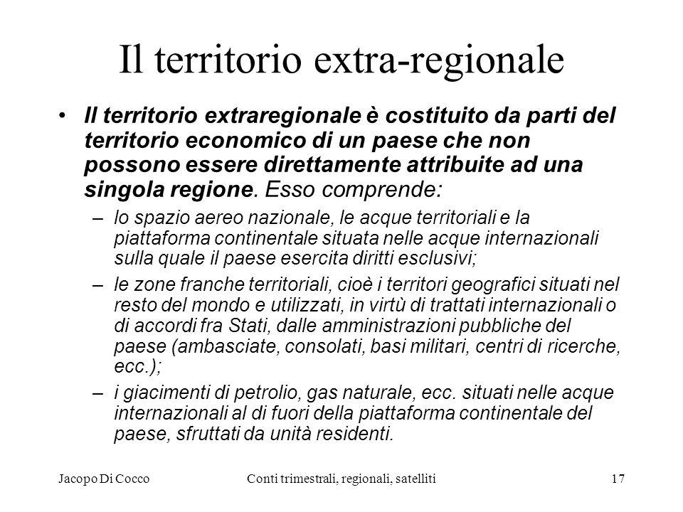 Jacopo Di CoccoConti trimestrali, regionali, satelliti17 Il territorio extra-regionale Il territorio extraregionale è costituito da parti del territorio economico di un paese che non possono essere direttamente attribuite ad una singola regione.