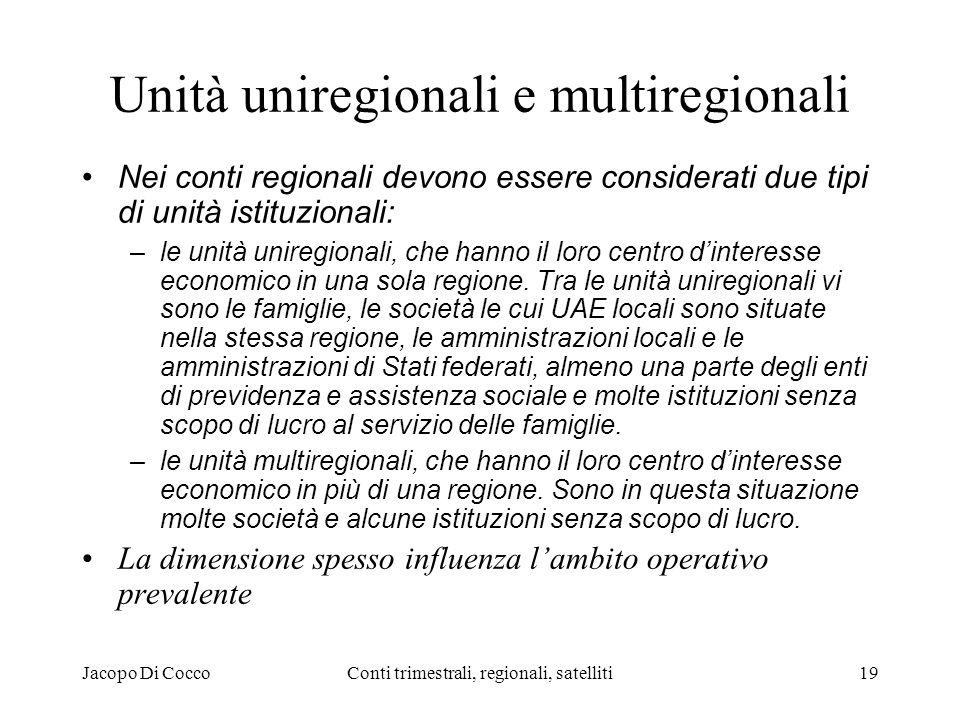 Jacopo Di CoccoConti trimestrali, regionali, satelliti19 Unità uniregionali e multiregionali Nei conti regionali devono essere considerati due tipi di unità istituzionali: –le unità uniregionali, che hanno il loro centro dinteresse economico in una sola regione.