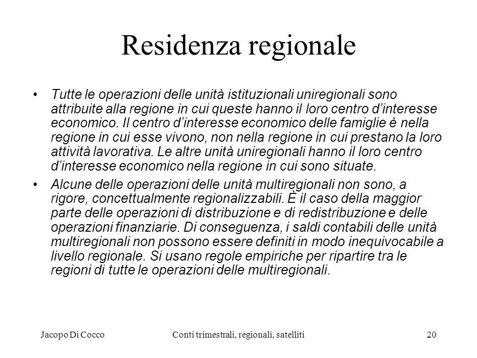 Jacopo Di CoccoConti trimestrali, regionali, satelliti20 Residenza regionale Tutte le operazioni delle unità istituzionali uniregionali sono attribuite alla regione in cui queste hanno il loro centro dinteresse economico.