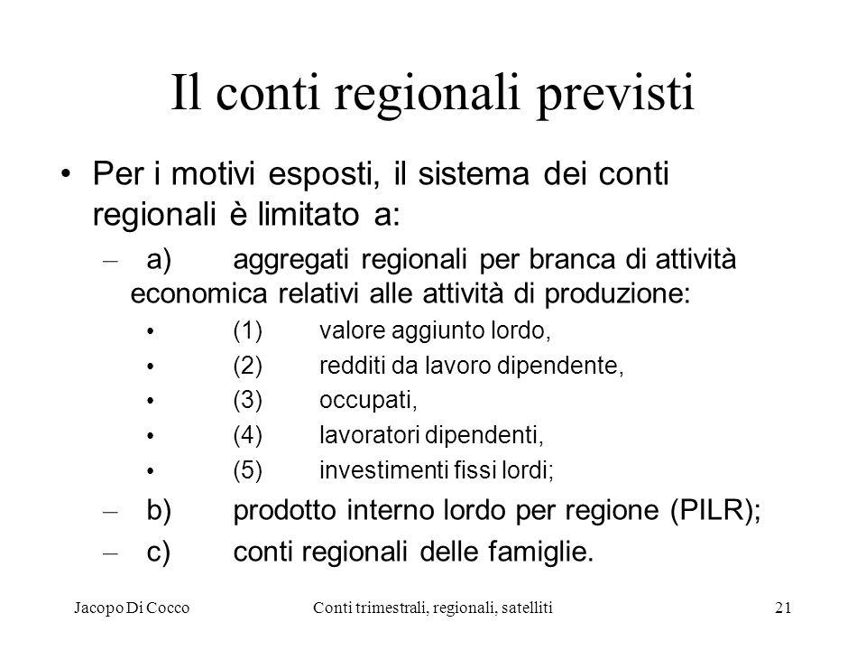 Jacopo Di CoccoConti trimestrali, regionali, satelliti21 Il conti regionali previsti Per i motivi esposti, il sistema dei conti regionali è limitato a: – a)aggregati regionali per branca di attività economica relativi alle attività di produzione: (1)valore aggiunto lordo, (2)redditi da lavoro dipendente, (3)occupati, (4)lavoratori dipendenti, (5)investimenti fissi lordi; – b)prodotto interno lordo per regione (PILR); – c)conti regionali delle famiglie.