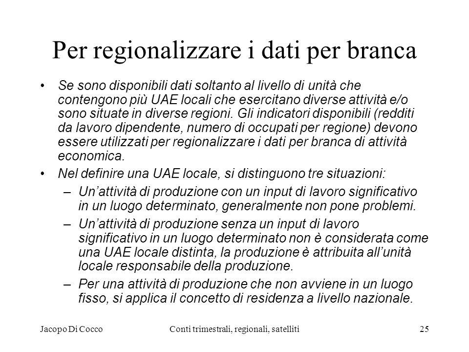 Jacopo Di CoccoConti trimestrali, regionali, satelliti25 Per regionalizzare i dati per branca Se sono disponibili dati soltanto al livello di unità che contengono più UAE locali che esercitano diverse attività e/o sono situate in diverse regioni.