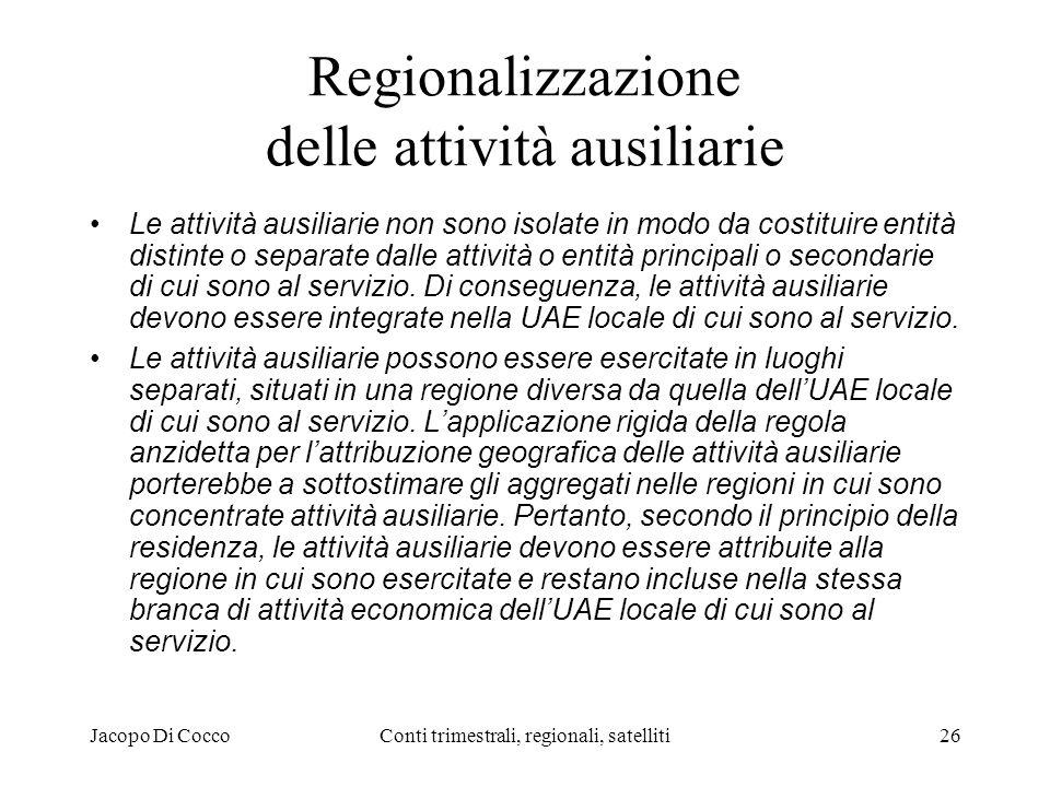Jacopo Di CoccoConti trimestrali, regionali, satelliti26 Regionalizzazione delle attività ausiliarie Le attività ausiliarie non sono isolate in modo da costituire entità distinte o separate dalle attività o entità principali o secondarie di cui sono al servizio.