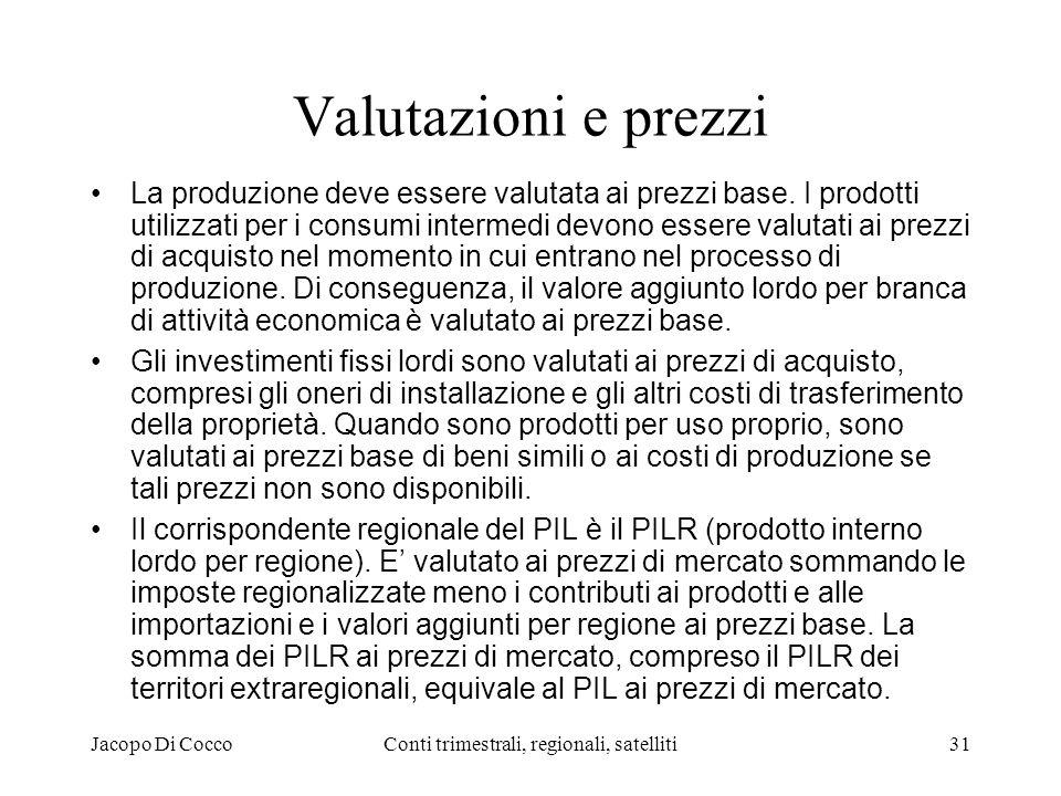 Jacopo Di CoccoConti trimestrali, regionali, satelliti31 Valutazioni e prezzi La produzione deve essere valutata ai prezzi base.