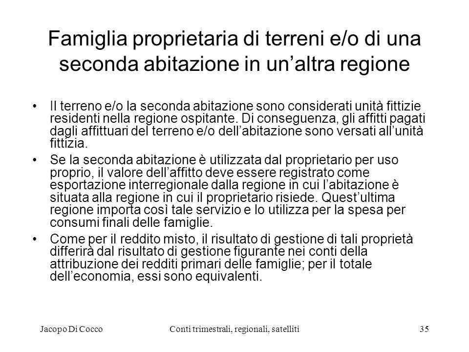 Jacopo Di CoccoConti trimestrali, regionali, satelliti35 Famiglia proprietaria di terreni e/o di una seconda abitazione in unaltra regione Il terreno e/o la seconda abitazione sono considerati unità fittizie residenti nella regione ospitante.