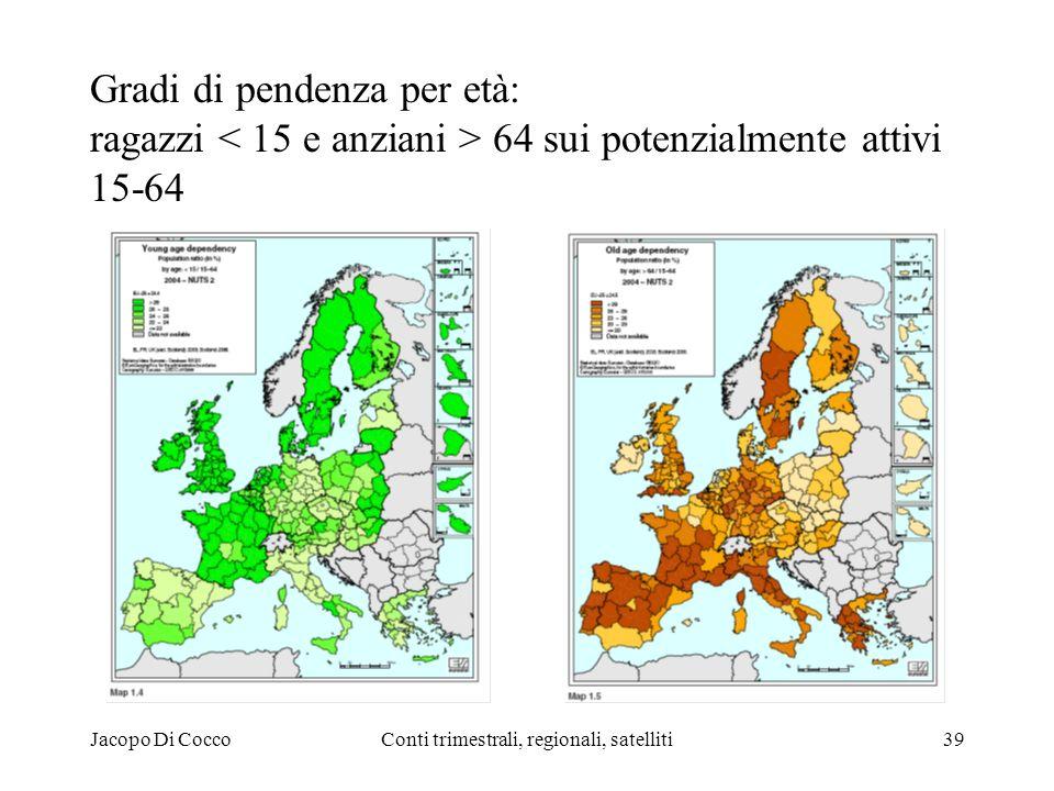 Jacopo Di CoccoConti trimestrali, regionali, satelliti39 Gradi di pendenza per età: ragazzi 64 sui potenzialmente attivi 15-64