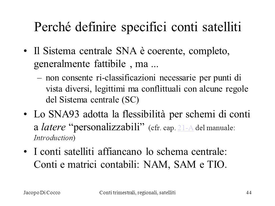 Jacopo Di CoccoConti trimestrali, regionali, satelliti44 Perché definire specifici conti satelliti Il Sistema centrale SNA è coerente, completo, generalmente fattibile, ma...